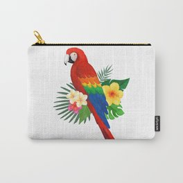 Tropical Macaw Floral Watercolor Carry-All Pouch