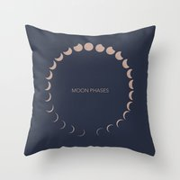 moon phases Throw Pillows featuring moon phases by Emma S