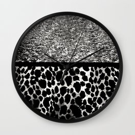 Animal Print Leopard Silver and Black Wall Clock