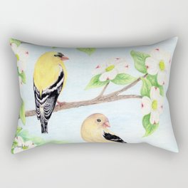 Goldfinches in Dogwood Rectangular Pillow