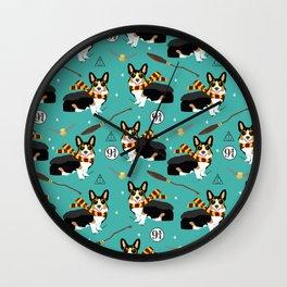 Corgi tricolored witch wizard magic dog breed gifts Wall Clock