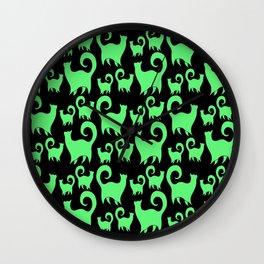 Green Snobby Cats Wall Clock