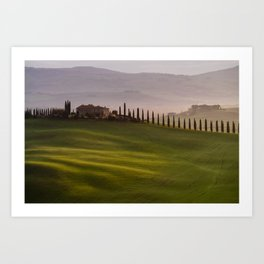 Orcia valley in the misty morning, Tuscany, Italy, Europe Art Print
