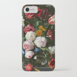 """Abraham Mignon """"Still life with flowers in a glass vase"""" iPhone Case"""