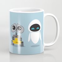 wall e Mugs featuring Wall-E and Eve by Steph Dillon