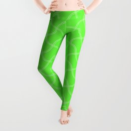 Bright Neon Green Tennis Ball Seams Repeating PatternBright Neon Green Tennis Ball Seams Repeating P Leggings