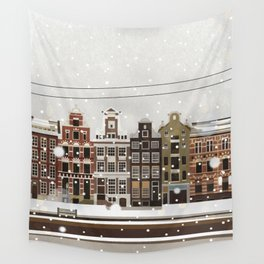 Amsterdam in the snow Wall Tapestry