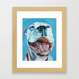 Flaco the Smiling Pup Framed Art Print