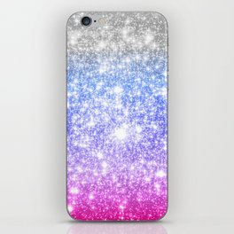 Galaxy Sparkle Stars Periwinkle Pink iPhone Skin