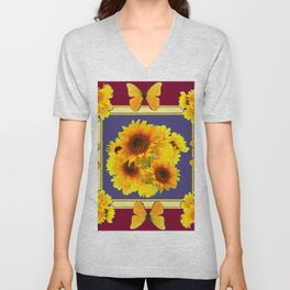 BUTTERFLY SUNFLOWER BOUQUETS BURGUNDY ART Unisex V-Neck