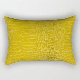 Yellow Alligator Leather Print Rectangular Pillow