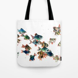 Barb Fish, Aquatic Blue Turquoise Underwater Scene Tote Bag