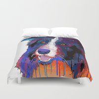border collie Duvet Covers featuring Border Collie by Marlene Watson