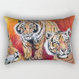Three Lucky Tigers Rectangular Pillow