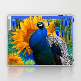 BLUE PEACOCK & GOLDEN SUNFLOWERS BLUE ART Laptop & iPad Skin