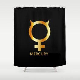 Zodiac and astrology symbol of the planet Mercury in gold colors- astronomical icon Shower Curtain