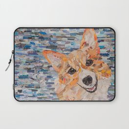 corgi on blue background Laptop Sleeve