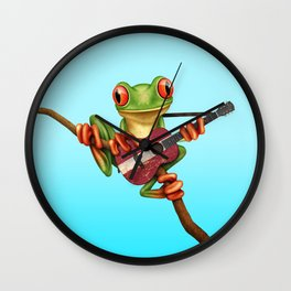 Tree Frog Playing Acoustic Guitar with Flag of Latvia Wall Clock