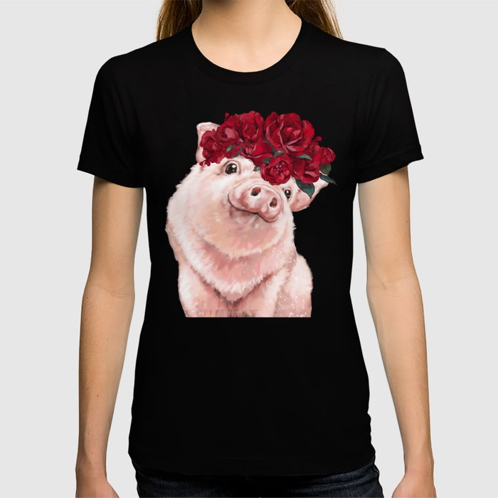 Baby Pig with Rose Flower Crown in Pink T-shirt