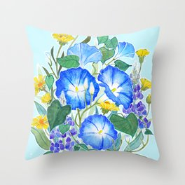Morning Glory Ikebana Throw Pillow
