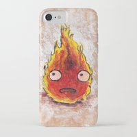 calcifer iPhone & iPod Cases featuring Burning Calcifer by KeithKarloff