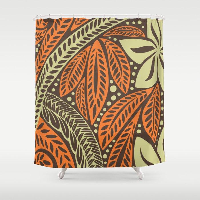 Cream Orange Retro Colored Polynesian Fl Tattoo Design Shower Curtain