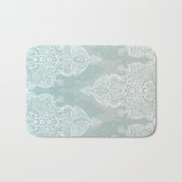 Lace & Shadows - soft sage grey & white Moroccan doodle Bath Mat