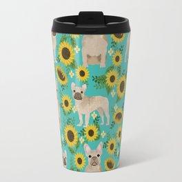French Bulldog sunflowers sunflower floral dog breed dog pattern pet friendly pet portrait Travel Mug