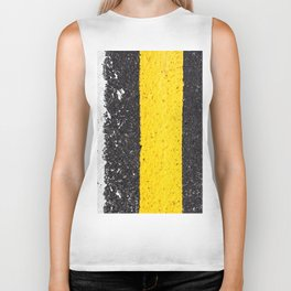 Asphalt with yellow & white lines Biker Tank