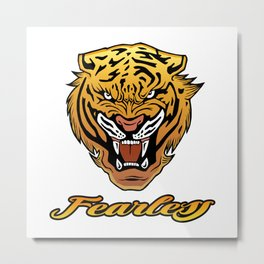 Fearless Tiger Black & Gold Metal Print