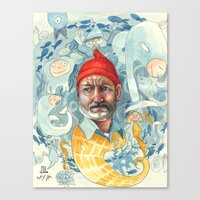 the life aquatic Canvas Prints featuring AQUATIC by busymockingbird