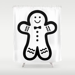 Gingerbread Man Black White Simple Bold Design Shower Curtain