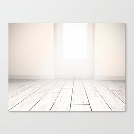 Soft rays of light in white modern interior. Canvas Print