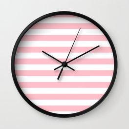 Narrow Horizontal Stripes - White and Pink Wall Clock