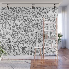 Graffiti Black and White Pattern Doodle Hand Designed Scan Wall Mural