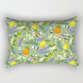 Essential Oils Love on Green Rectangular Pillow