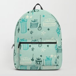 Christmas gift and ornaments Blue Backpack