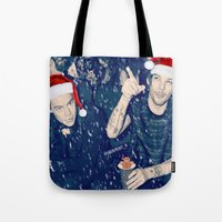 larry stylinson Tote Bags featuring Larry Stylinson Funny Cookie Christmas by girllarriealmighty