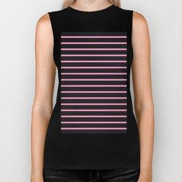 Black & Light Pink Stripes Biker Tank