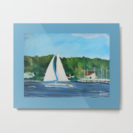 Come Sail away with border Metal Print