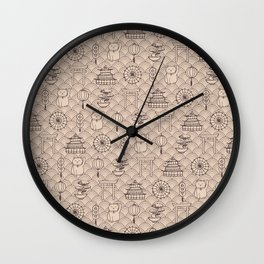 Retro asian pattern Wall Clock