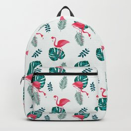 pink flamingo bird on blue and green tropical pattern Backpack