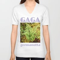 lady gaga V-neck T-shirts featuring Gaga germanotta by Duke Herbarium
