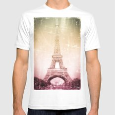 Eiffel Tower in Color White MEDIUM Mens Fitted Tee