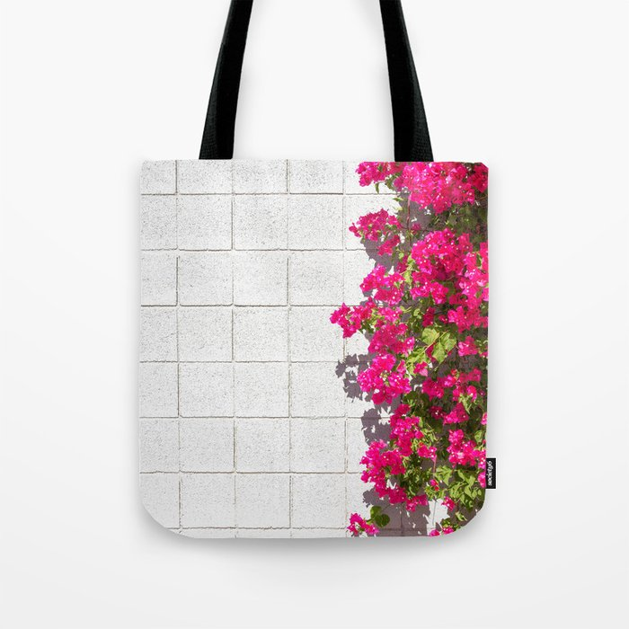 Bougainvilleas and White Brick Wall in Palm Springs, California Tote Bag