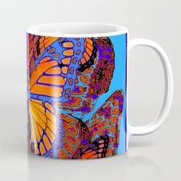 BLUE ABSTRACT MONARCH BUTTERFLIES ART Coffee Mug