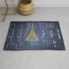 Concorde Supersonic Airliner Blueprint (dark blue) Rug