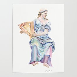 Lady with the golden harp Poster