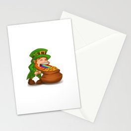 Vomiting Leprechaun St. Patricks Pot Of Gold Stationery Cards