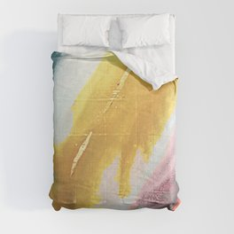 Ambition: a colorful abstract piece in bold yellow, blue, pink, red, and gold Comforters